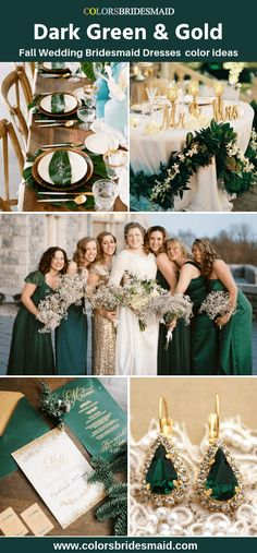 Green Bridesmaid Dresses Dark Green color Dark green bridesmaid dresses, with gold color for fall wedding 2019 ideas, dark green and gold wedding invitations, table and chair decorations, earrings. Fall Wedding Bridesmaids, Fall Bridesmaid Dresses, Bridesmaid Color, Emerald Green Bridesmaid Dresses, Green Bridesmaids, Gold Wedding Dresses, Bridesmaid Earrings, Emerald Green Weddings, Green Theme Weddings