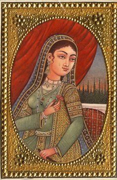 Empress Rabia Durrani (Dilras Banu Begum), wife of Aurangzeb Rare Mughal Miniature Art Folk Painting from ArtnIndia Indian Traditional Paintings, Indian Paintings, Traditional Art, Mughal Paintings, Portrait Art, Portraits, Ancient Persian, Vintage India, Mughal Empire