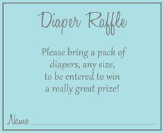 Encourage guests to bring diapers to your baby shower with this basic aqua blue…