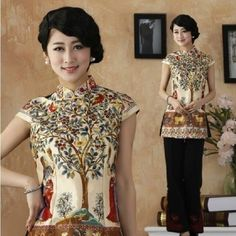 Gold Chinese Silk Women's Top T-Shirt Blouse Cheong-Sam S M L Xl Xxl 3Xl
