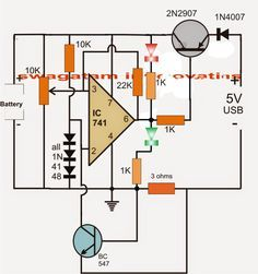 In this article we study a simple computer USB li-ion battery charger circuit with auto-cut off, current control features. How it Works The circuit can be understood with the […] Lead Acid Battery Charger, Battery Charger Circuit, Automatic Battery Charger, Hobby Electronics, Electronics Projects, Simple Electronics, Aquaponics System, Electronic Circuit Design, Simple Circuit