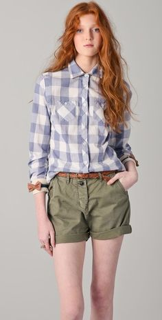 Checkered shirt + leather bows = Love!