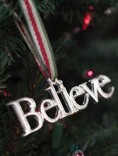 This silver message Christmas tree ornament reminds us of the true spirit of the season!   Balsam Hill