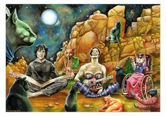 Portrait of Neil Gaiman & Amanda Palmer, from a dream. (Their wedding present) Neil is reciting American Gods accompanied by Amanda and a host of Arapaho cats! Amanda Palmer, American Gods, Neil Gaiman, Visionary Art, Ukulele, Portrait, Cats, Drawings, Funny