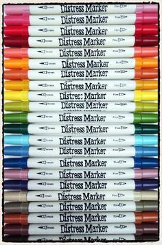 The Distress Markers have the essential tips for stampers and scrapbookers: brush and fine points. With the new abilities that they bring to Distress such as convenient coloring of images through applying color directly to stamps, and easy blending of colors, these are sure to be must-haves for any Distress ink fan!