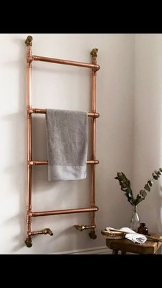 Beautiful copper heated towel rail, Handmade by Starling Row in West Sussex.