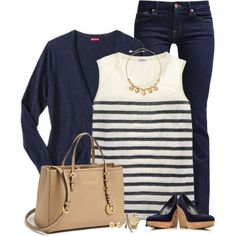 Matching Cardigan & Wedges by immacherry on Polyvore featuring moda, J.Crew, 7 For All Mankind, MICHAEL Michael Kors, Monet, Michael Kors and Stuart Weitzman