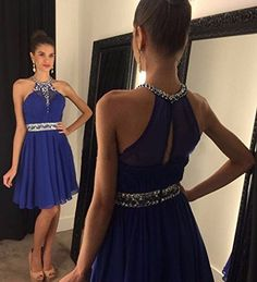 Dressylady 2017 Halter Crystal Beaded Chiffon Short Homecoming Dress Cocktail Party Gowns at Amazon Women's Clothing store: