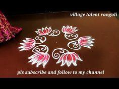 Lotus Rangoli, Kolam Rangoli, Flower Rangoli, Simple Rangoli, Rangoli Designs With Dots, Beautiful Rangoli Designs, Kolam Designs, Lotus Flower, Easy Drawings