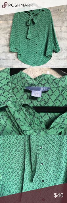 anthropologie lil 2 pussy bow blouse green blue Anthropologie Anthropologie Tops Button Down Shirts