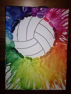 DIY Volleyball Crayon art