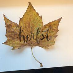 Herfst! 😍🍃🍁🍂🍄 #herfst #vallendeblaadjes #letterlabel #typography #brushlettering