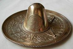 VINTAGE 925 STERLING SILVER MEXICAN SOMBRERO HAT W/ AZTEC CALENDAR - 149 grams