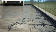 Suelos de cemento con grabados florales
