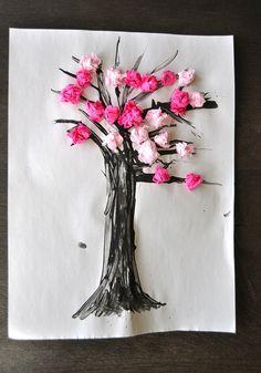 Cherry Blossom Spring Craft good for strengthening little fingers. Preschool Crafts, Easter Crafts, Fun Crafts, Crafts For Kids, Arts And Crafts, Preschool Ideas, Spring Theme, Spring Art, Spring Activities