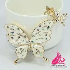 Novelty Crystal Butterfly Fashion Metal Rhinestone Keyring Pendant Accessory For Women Handbag Charm Keychains China
