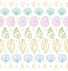 Seashells stripes line art seamless pattern vector 1995345 - by Oksancia on VectorStock®