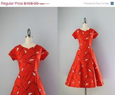 SALE 50s Dress / Vintage 1950s Atomic print Dress / by HolliePoint, $86.40