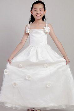 Tulle Straps Romantic Flower Girl Dress - Order Link: http://www.theweddingdresses.com/tulle-straps-romantic-flower-girl-dress-twdn1000.html - Embellishments: Flower; Length: Floor Length; Fabric: Tulle; Waist: Natural - Price: 64.51USD