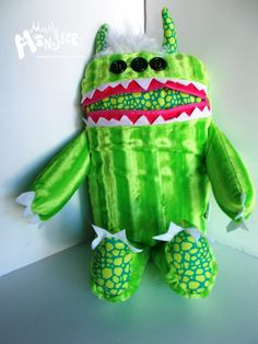 GIANT Cuddle Monster Pillow Pal LIMON  zipper by MostlyMonstersCV, $40.00