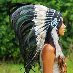 White-with-black Native American Headdress by Novum Crafts