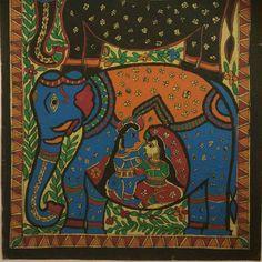 Elephants & Radha Krishna Love - Madhubani Painting