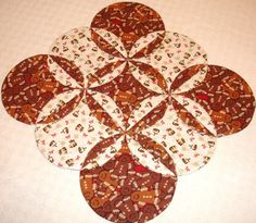 Gingerbread Man Table Runner Quilt  Red Brown Cream by KeriQuilts, $28.00