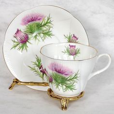"Royal Albert ""Wayside Series"" Teacup Saucer Thistle Shelley Shape"