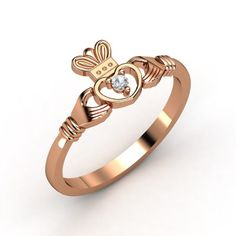 I LOVE LOVE this ring!  14K Rose Gold Ring with White Sapphire | Delicate Claddagh Ring | Gemvara