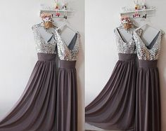 Grey Evening Prom Dress,Grey Bridesmaid Dress,Mature Prom Evening Dress,Elegant Deep Grey Long Bridesmaid Dress,Grey Party Dress,Prom Dress