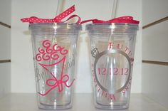 Wedding Party Personalized 16oz Double Wall by VinylChatter, $12.00