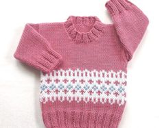 Fair Isle baby sweater - 6 to 12 months - Knit baby jumper - Baby girl knitwear . , Fair Isle baby sweater - 6 to 12 months - Knit baby jumper - Baby girl knitwear . Baby Boy Knitting Patterns, Baby Sweater Knitting Pattern, Fair Isle Knitting Patterns, Fair Isle Pattern, Knitting For Kids, Knit Patterns, Hand Knitting, Baby Boy Sweater, Knit Baby Sweaters