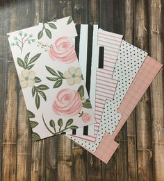 Planner Dividers, BLUSH ROSE, Pink, Hearts, Black & White, Stripe, A5 or Personal Size Divider, Kikki K, Color Crush, Filofax, Recollections by planNIRVANA on Etsy