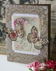handmade card with postcard and butterflies
