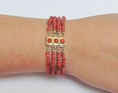 6aee4f4ac9cd Online veilinghuis Catawiki  4 rijige bloedkoralen armband met gouden  sluiting