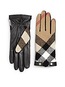 Burberry - Checked Leather Gloves