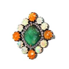 Spessartite Garnet Opal Emerald 14 K Gold Cocktail Ring Diamond Pave .925 Silver