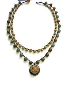 Crochet necklace, two strand pendant necklace, Bohemian jewelry, gemstones, czech glass, tribal, carved pendant,  fall fashion, boho chic