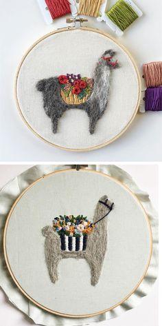 Fuzzy and Flora needle felting hoop art // llama embroidery