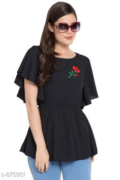 Tops & Tunics Women's Solid Black Crepe Top Fabric: Crepe Sleeves: Butterfly Sleeves Are Included Size:  S - 36 in M- 38 in L - 40 in XL - 42 in Length: Up To 24 in Type: Stitched Description: It Has 1 Piece Of Top Work: Embroidery Country of Origin: India Sizes Available: S, M, L, XL   Catalog Rating: ★4 (557)  Catalog Name: Women's Crepe Tops & Tunics CatalogID_101979 C79-SC1020 Code: 973-875901-939