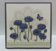 Purple Pleasant Poppies - so different the the Hello Doily in background! Cool Cards, Diy Cards, Poppy Cards, Making Greeting Cards, Beautiful Handmade Cards, Card Maker, Flower Cards, Homemade Cards, Stampin Up Cards