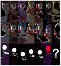 Purple guy, Marionette and Golden Freddy. You better not fail me. <<< purple guy foxy and Mangal Five Nights At Freddy's, Freddy S, Mega Lucario, The Marionette, Marionette Costume, Foxy And Mangle, Fnaf Night Guards, Fnaf Sl, 2 Kind