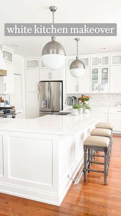White Contemporary Kitchen, Transitional Kitchen, Modern Kitchen Design, Kitchen Remodel, Kitchen Redo, Kitchen Ideas, Big Kitchen, Kitchen Corner, Modern Farmhouse Kitchens