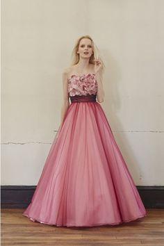 Dathybridal 綺麗な ピンク ストラップレス フラワー 編み上げ #シフォン コート サッシ Aライン #カラードレス Cly0061 - P0061