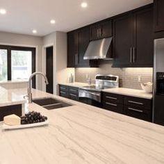 espresso cabinets with white granite - Google Search