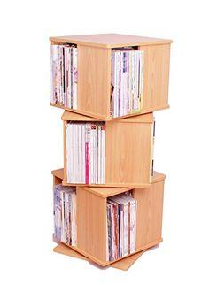A4判雑誌回転式ブックラック【3段】ダークブラウン 本棚・書棚の完成品でカタログ・絵本の収納にも最適