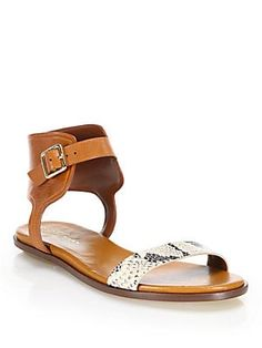97f2f7bcf Cole Haan - Barra Snake-Embossed Leather Sandals