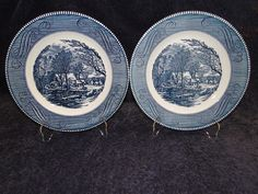 """$4.99 Currier & Ives Royal China Old Grist Mill Dinner Plate 10"""" TWO MINT! #RoyalChina"""