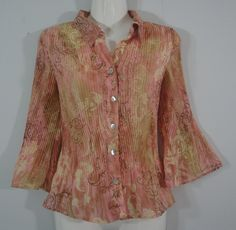Sere Nade Coral Pink Career Button Down Shirt Crinkle Pleat 3/4 Bell Sleeves PM #SereNade #Blouse #Career