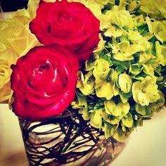 Centerpiece (one of three) #roses #hydrangeas #glass #pretty #decor #centerpiece #pink #green